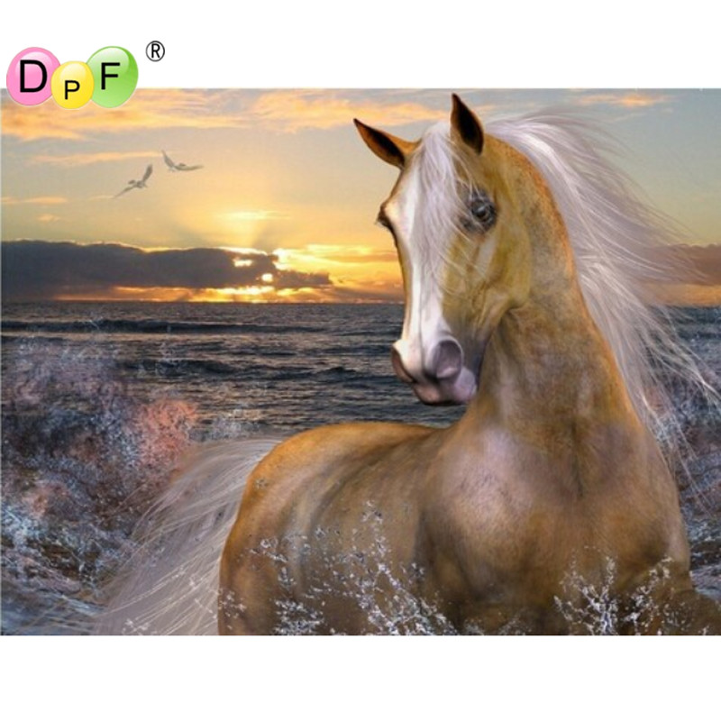 Seaside horse 3D DIY diamond embroidery painting crafts animal Inlaid decorative Square Rhinestone cross stitch mosaic pictures