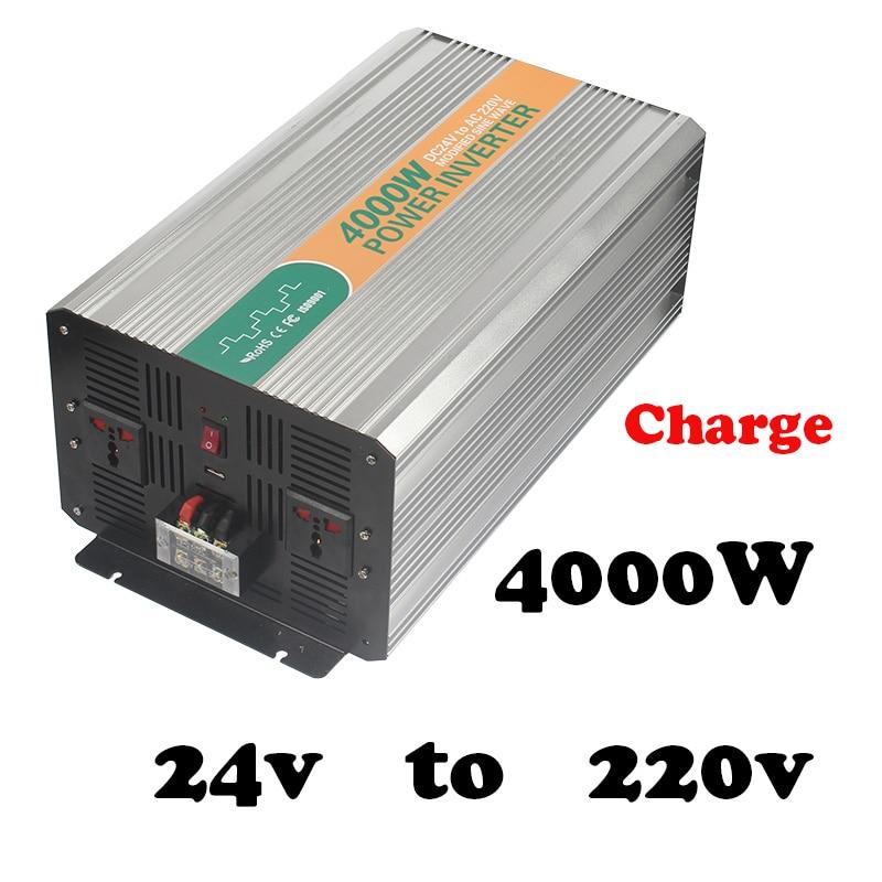 4000 W 24vdc 220vac convertisseur de puissance pour voiture avec chargeur de batterie prise universelle haute puissance 4000 watt onduleur