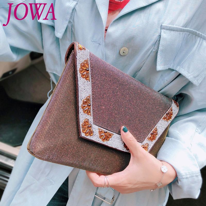 2017 New Design Women's Fashion Day Clutch Casual Envelope Bag Handbag Diamonds Package Night Party Purse Chains Pocket 2 Colors