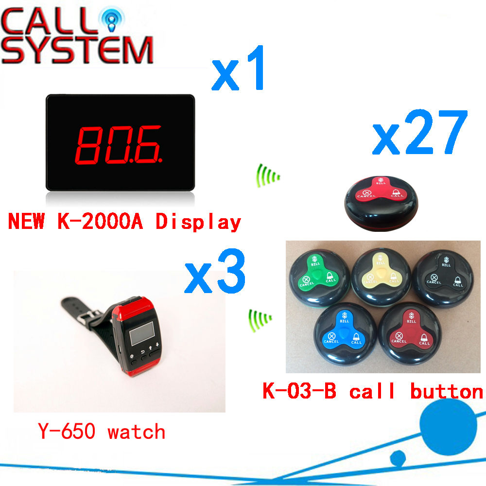Wireless Calling Bell Pager Call Transmitter Calling System Hot Sales For Restaurant Hotel( 1 display+3 watch+27 call button ) wireless waiter calling bell system long rang distance with 433 92mhz for restaurant pager 1 display 1 watch 5 call button