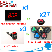 Wireless Calling Bell Pager Call Transmitter Calling System Hot Sales For Restaurant Hotel( 1 display+3 watch+27 call button )