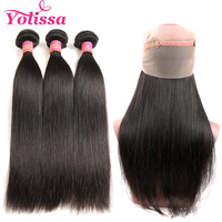 Yolissa Hair 360 Lace Frontal With 3 Bundles Brazilian Straight Hair 100% Human Hair Bundles Natural Color Remy Hair Extension