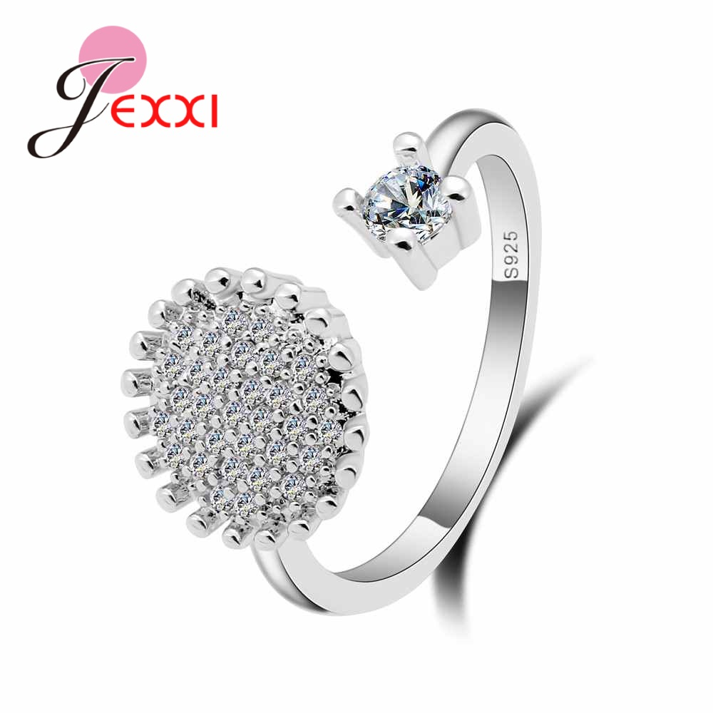 JEXXI Hot Sale Flower Wedding Engagement Jewelry 925 Sterling Silver Rings For Women Opening Size Crystal Lady Jewelry