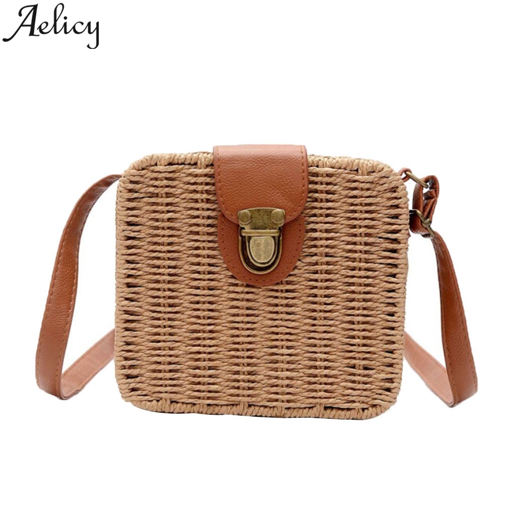Aelicy Bali hand-woven Bags Square Bags Buckle Rattan Straw  Shoulder Bag Wind Bohemian Beach BagAelicy Bali hand-woven Bags Square Bags Buckle Rattan Straw  Shoulder Bag Wind Bohemian Beach Bag