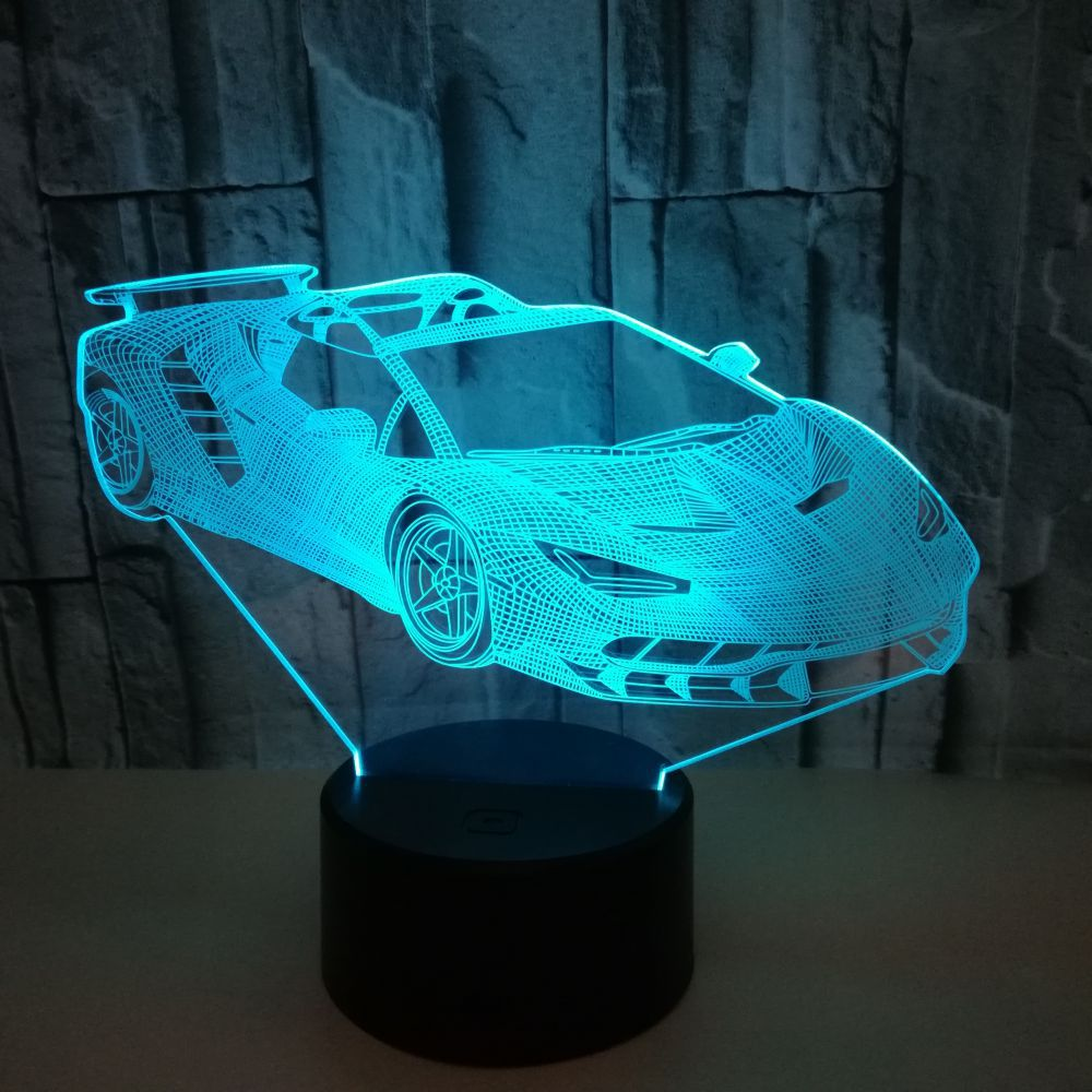 Acrylic Sports Car Design 3d Gift Lamp Led Colorful Touch Remote Control Usb 3d Night Light 7 color change Kids Lamp new bicycles 3d lights led 7 colorful remote control 3d lamp acrylic visual light novelty luminaria led night light