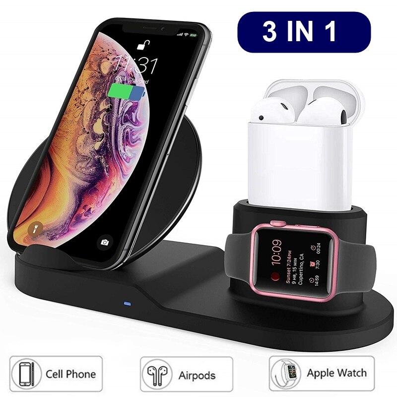 Universal qi carregador sem fio 3 em 1 10 w carregador de carregamento sem fio do telefone rápido almofada para o iphone xs max carregador sem fio
