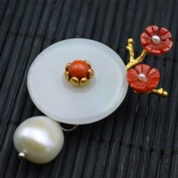 Amxiu Customized Handmade Natural AAA Jade Brooch Flower Pendant 925 Sterling Silver Natural Pearl Brooches For Women Jewelry