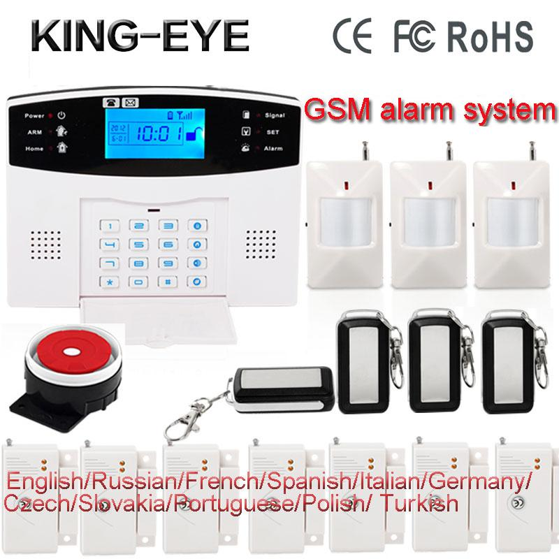 Russian/Polish/French/Spanish voice LCD display gsm wireless home burglar security alarm system roof ceiling infrared sensor russian french spanish polish voice prompt gsm alarm system for home security anti theft pir detector wireless siren app control