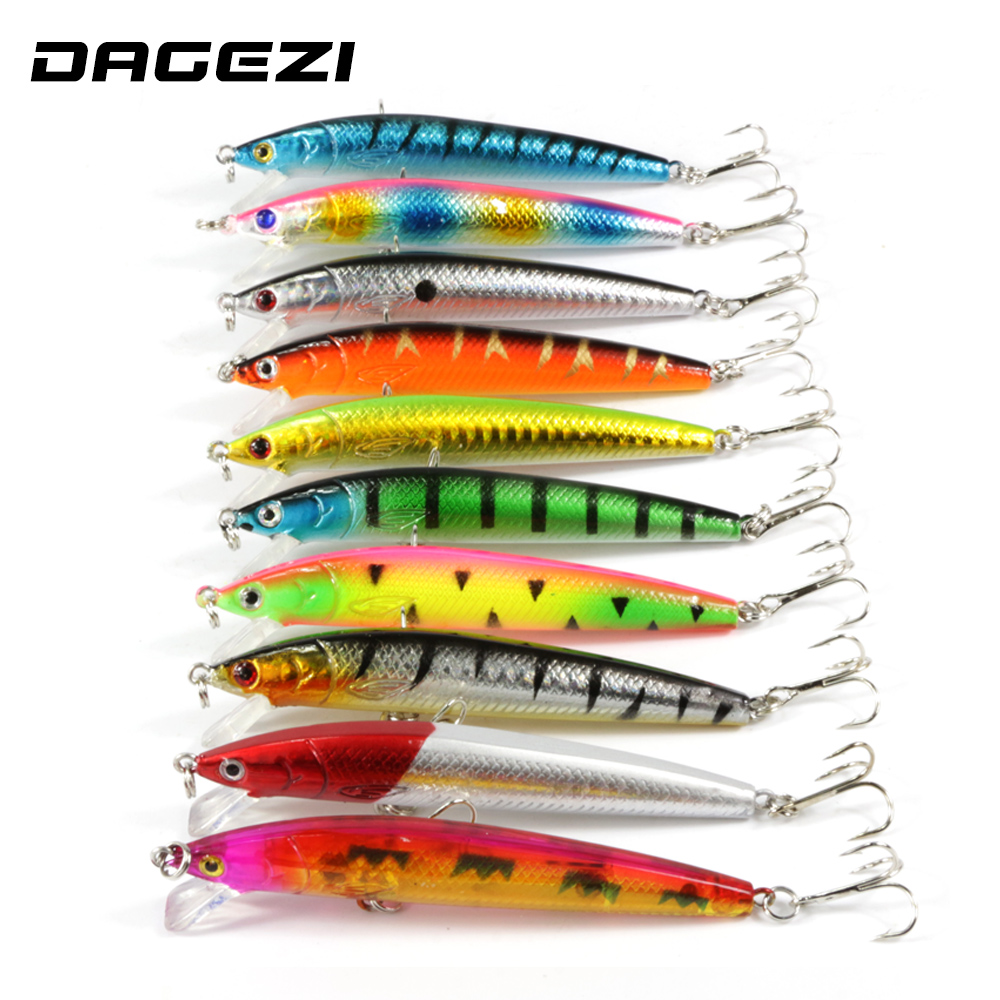 DAGEZI 10 pcs/lot Minnow Fishing Lure Hard Bait Tight Wobble Slow Floating 8g 9.5cm 6# Hooks  Crankbait fishing tackle 5pcs lot minnow crankbait hard bait 8 hooks lures 5 5g 8cm wobbler slow floating jerkbait fishing lure set ye 26dbzy