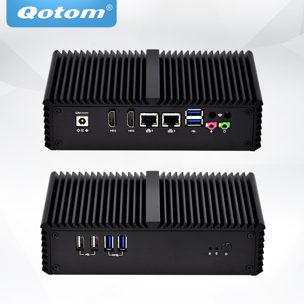 QOTOM Fanless Mini PC Dual NIC Dual Display, POS Machine Advertising Machine Cash Register, Core I5 Mini PC DC 12V