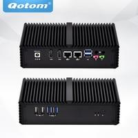 QOTOM Fanless Mini PC Dual NIC Dual Display, POS machine Advertising machine cash register, Core i5 Mini PC DC 12V