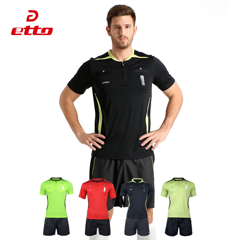 Etto Professional Referee Uniforms Soccer Jersey & Shorts Sets Men Women Breathable Sweat Absorption Soccer Sets Football HUC040