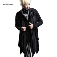 Men Long Sleeve Cardigan Trech Coat Male Fashion Casual Street Hiphop Punk Gothic Style Long Jacket