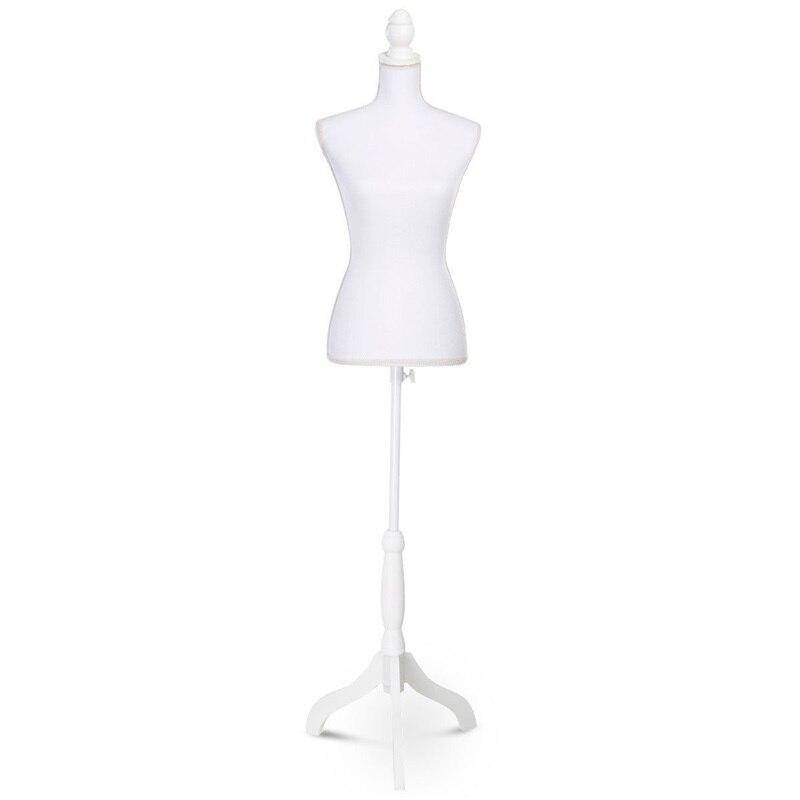 Mannequin femme forme torse affichage avec trépied support flanelle blanc styromousse pin bois Mannequins HW50080WH