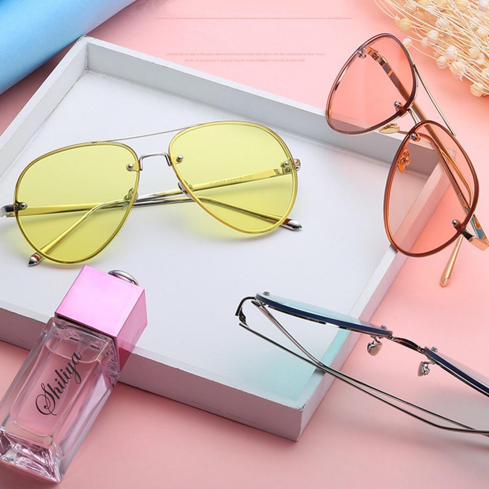 Aviation Yellow Sunglasses Women Day And Night Vision Glasses Kacamata View Hd Anti Silau Malam Hari Warna Kuning Toad Vintage Putaran Logam Bingkai Aviator Designer Sun Uv400 Colorful Lensa Untuk