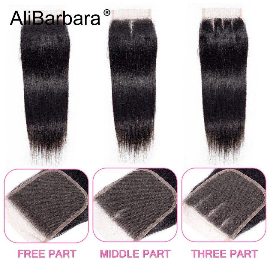 HTB1lBoGUpzqK1RjSZFvq6AB7VXa0 Alibarbara Brazilian Straight Hair With Closure 4*4 5*5 6*6 Free Middle Part Closure with Bundle Remy Human Hair Bundles With Cl