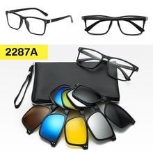 Montura de gafas y gafas de sol magnéticas con Clip para hombre y mujer, imán polarizado, montura de gafas Polaroid con Clip