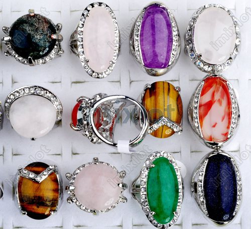 Wholesale mix lot 15pcs silver P crystal stone ring fashion natural stone jewelry Vintage Rings Free shipping