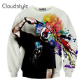 2017 New street style Harajuku autumn mens 3D sweatshirt graphic print a clown shot himself suicide novelty pullover hoodies