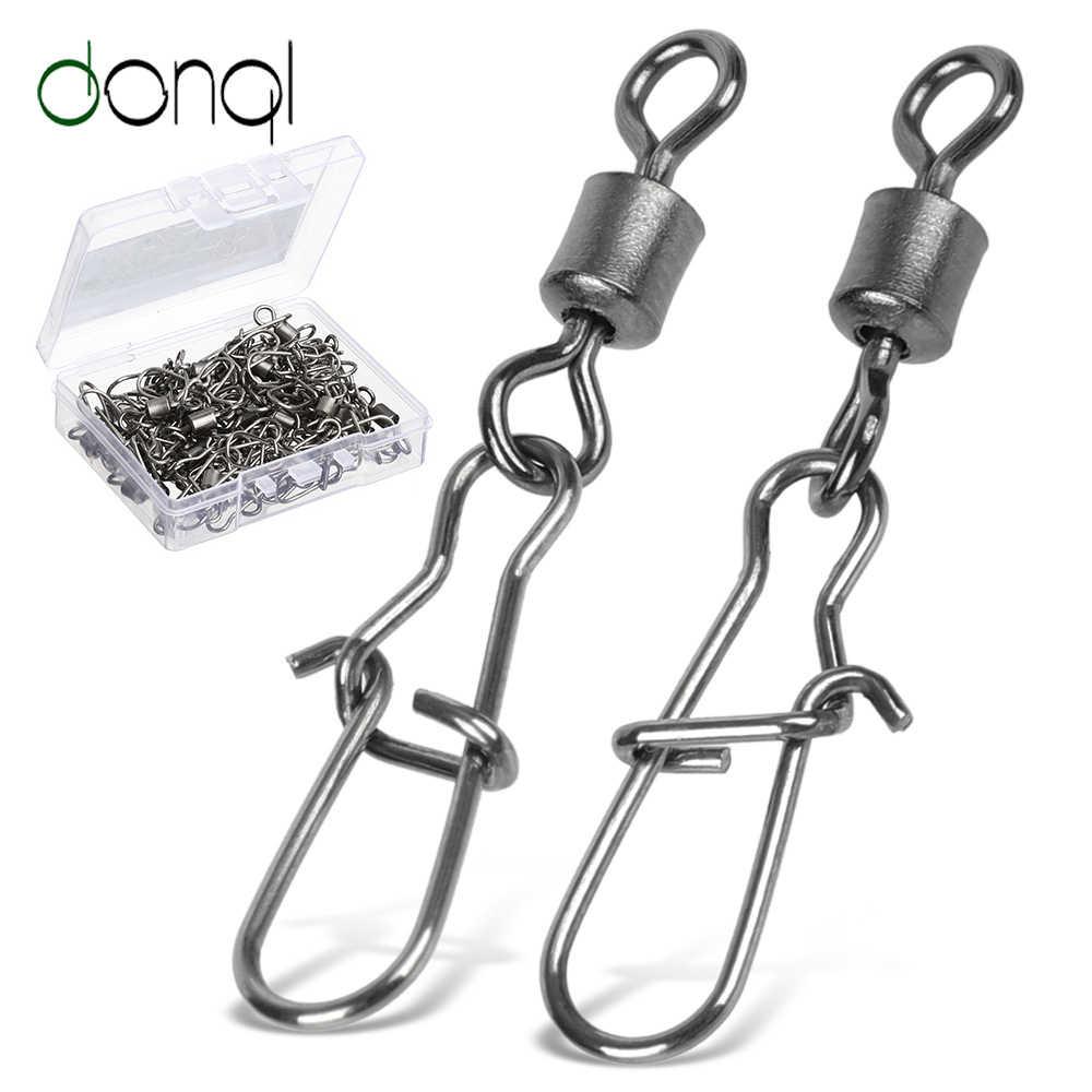 DONQL 10/20/50 sztuk złącze wędkarskie blokada obrotowa Pin Snap 14 #-2/0 # połączenie obrotowe dla Fishhook Lure Fishing akcesoria