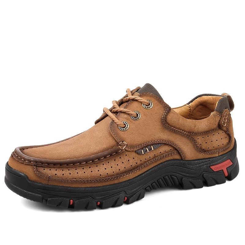 Lace Homem Sapatos brown Ar Couro Casuais Lace Flats up Qualidade On Genuína Up Masculinos Alta Caminhada khaki Homens On De Calçado Dos Calçados Vaca 100 Brown Eu38 Ao Slip Up khaki 48 Livre qctnff1H