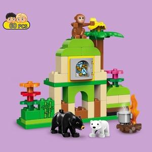 Image 2 - Bộ 3 sản phẩm Duplo Khối Xây Dựng bộ Rừng động vật khối Kích Thước Lớn DIY Khai Sáng Gạch Tương Thích Nhân Vật Đồ Chơi cho Trẻ Em