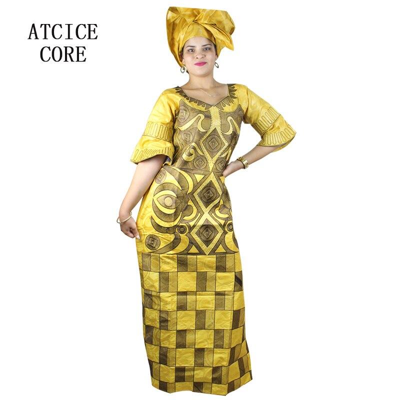 Abiti africani per le donne di disegno di modo nuovo bazin africano del  ricamo del vestito da disegno lungo vestito con sciarpa due pc un set a023    in ... 5d261ee622d2