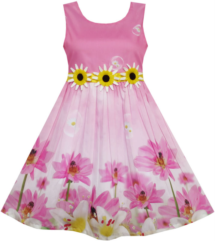 Sunny Fashion Girls Dress Sunflower Bubble Lily Flower Garden 2017 Summer Princess Wedding Party Dresses Kids Clothes Size 4-12 купить