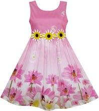 Ensoleillé Mode Filles Robe Tournesol Bubble Fleur De Lys Jardin 2017 D'été Princesse De Soirée De Mariage Robes Enfants Vêtements Taille 4-12