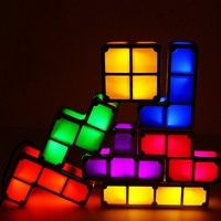 Creative Stackable Color DIY Tetris Puzzle LED Night Light Children's Puzzle Retro Game Tower Holiday Gift Decoration Table Lamp