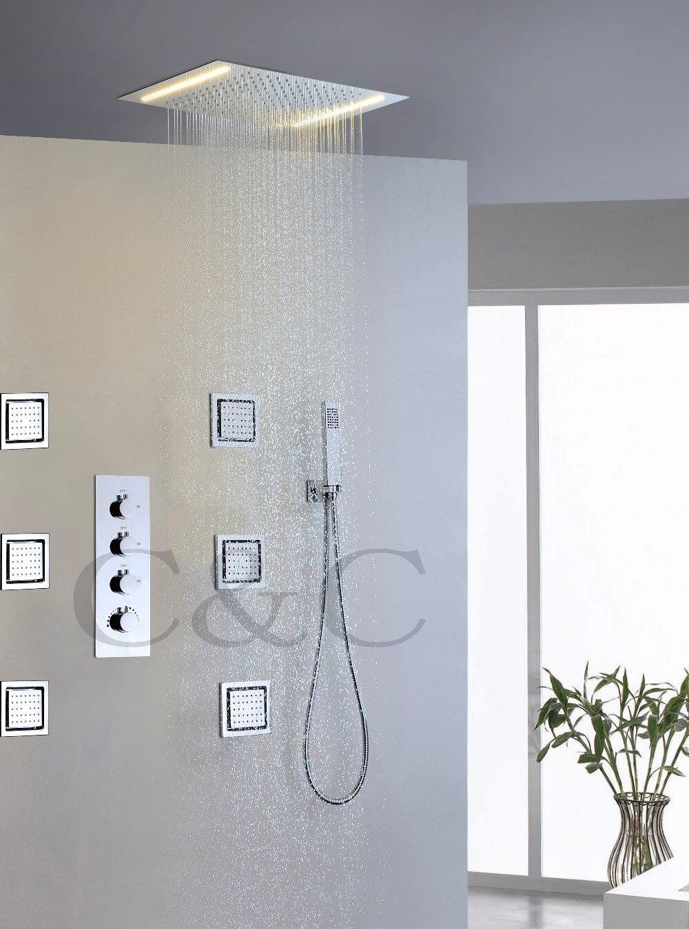 Набор душевых смесителей для дождевой ванны с переменным током, двухрядные желтые лампы, Светодиодная насадка для душа 008 50X36E 6MF