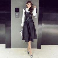 Autumn Winter Ladies V-Cổ PU Điệu Phù Hợp và Đuốc Dresses Cô Gái Faux Leather Slim Dress GD9121