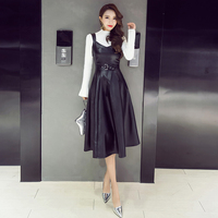 Autumn Winter Ladies V-neck PU Camis Fit and Flare Dresses Girls Faux Leather Slim Dress GD9121