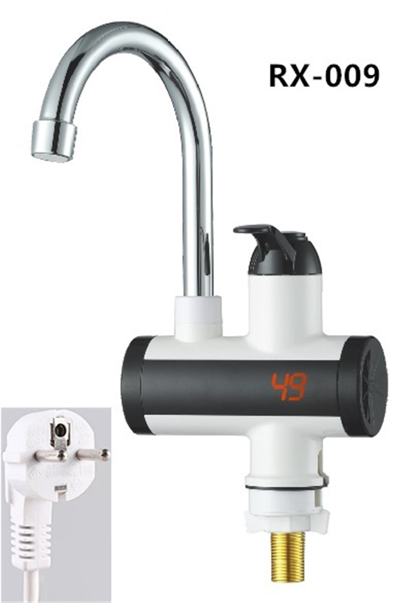 RX-009U,Home 220V 3000W Instant Electric Faucet Tap Hot Water Heater Stainless Steel Under Inflow LED Display Bathroom Kitchen