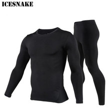 ICESNAKE Men Cotton Thermal Underwear Set Motorcycle Skiing Winter Warm Base Layers Tight Long Johns Tops & Pants Set winter warm outdoor sports thermal underwear set polartec long johns men women thermal underwear top pants cycling base layers 4
