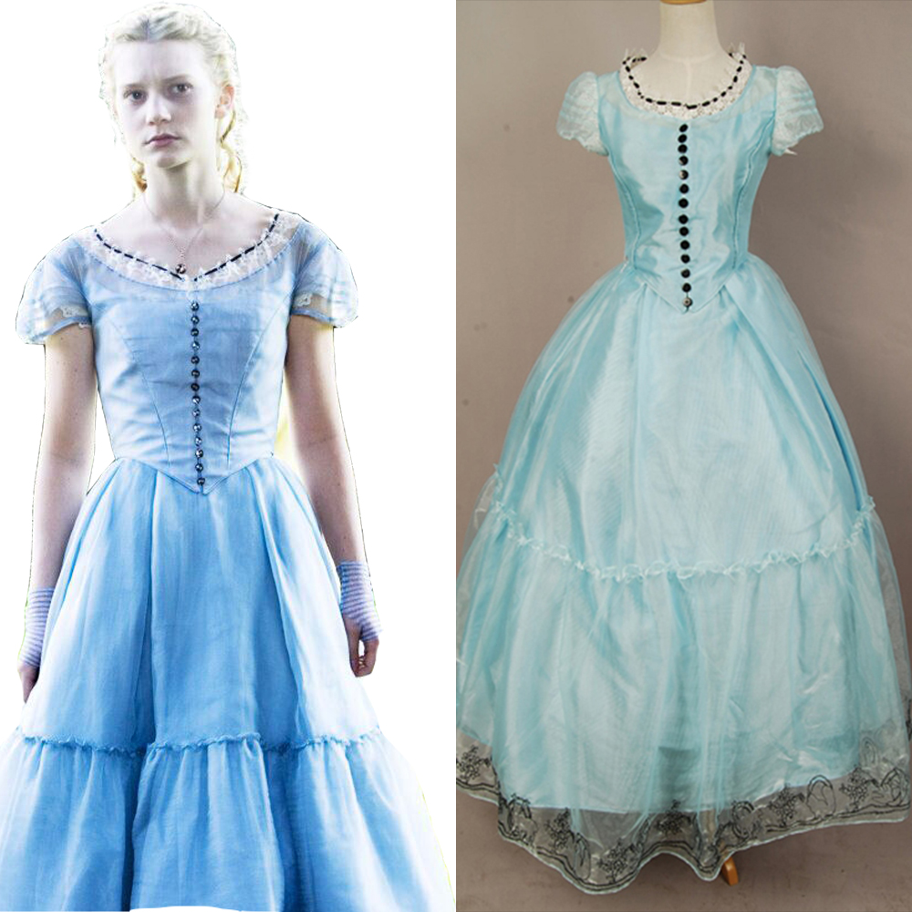 Tim Burton's Alice In Wonderland Cosplay Alice Blue Dress Costume Dress Full Sets Halloween Carnival Women Costumes
