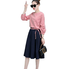 Korean Fashion Student Suit  Women 2 Pcs Set Clothing Pullover Top Blouse & Pleated Skirt Lady Outfit Casual Girt Vestido S-XXL