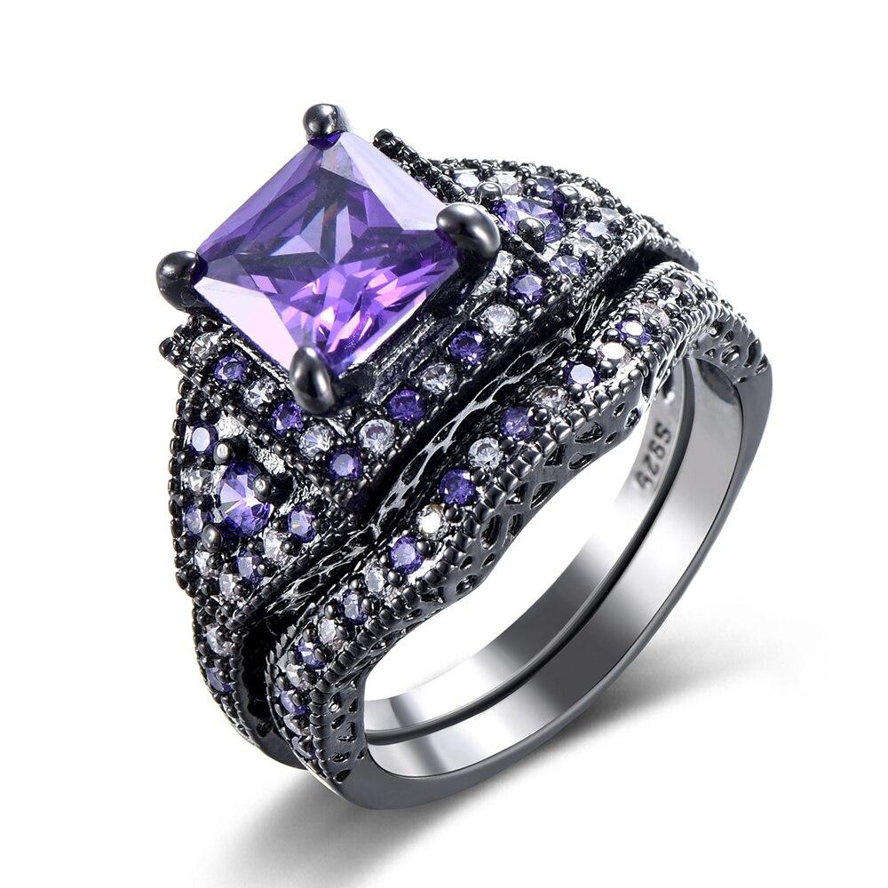 2016 Black Ring Sets HOT Black Gun Color Zircon Pink Purple Fashion Lady Finger Rings New Design