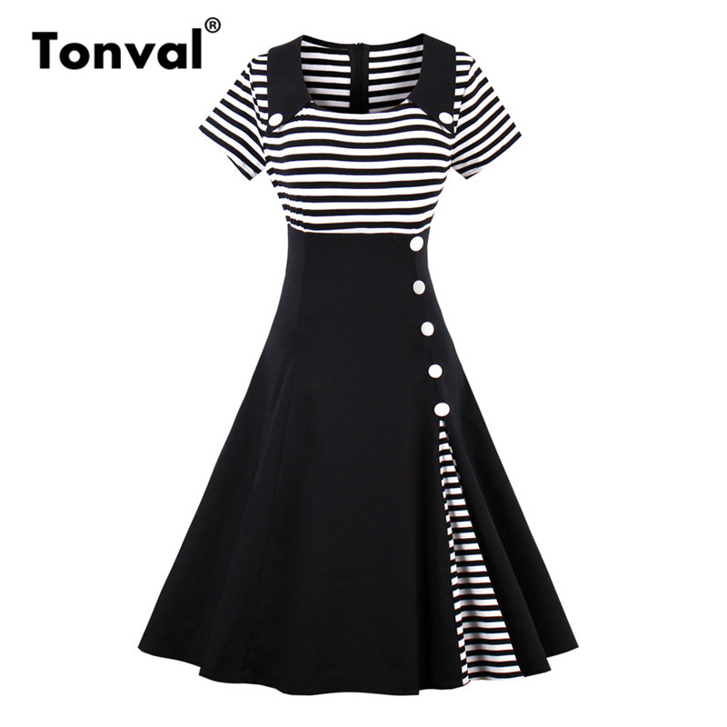 Tonval Plus Size Vintage Striped Summer Dress Women Button Retro A Line  Black Dresses 2018 Short 6f8adb77141e