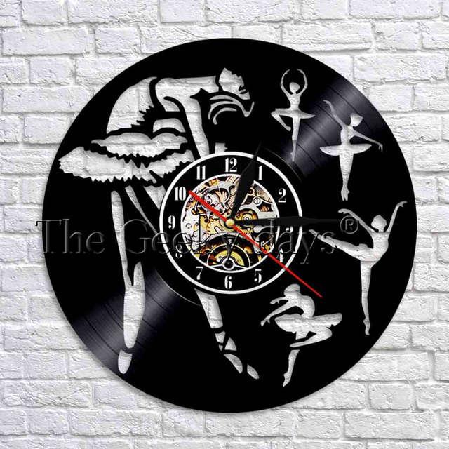 1piece Ballerina Vinyl Record Wall Clock Modern Design Ballet Dancer Nursery Art Decor