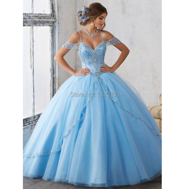 Luxury Beaded Lace Sweetheart Light Blue Puffy Quinceanera Dresses 2019 Ball Gown  Skirt Sweet 16 Pageant Dresses