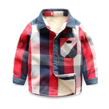 2016 New Children's boys pattern Shirt Cotton 2 Color Kids Plus velvet Check Shirts 2016 Long Sleeve Thickening Boys Blouses AU