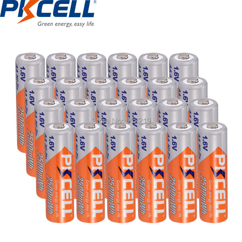 PKCELL 24Pcs NIZN 1.6V 2500MWH AA Rechargeable Battery, AND 6Pc Batteria Box Case White Color FOR toy and camera