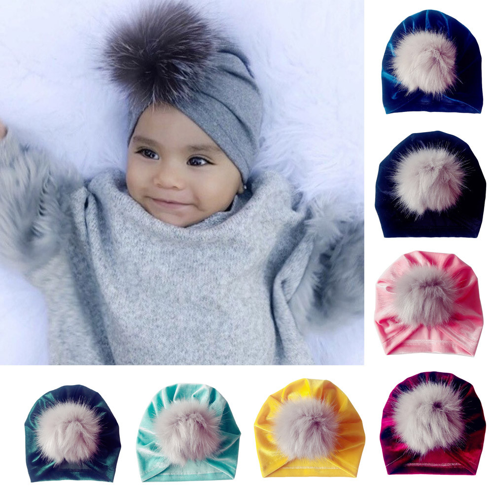 1pc Newborn Caps, Toddlers, Boys And Girls, Turban, Gold Velvet, Hair Ball, Holiday, Beanie, Casual Hat A Great Variety Of Goods