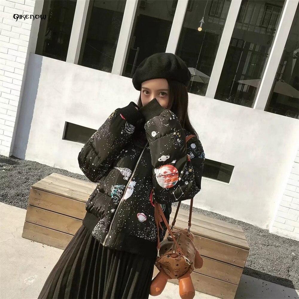 2018 Chaqueta 026 Étoilé Court Impression Debout Black Casaco Manteau Col Feminino D'hiver Femmes Parkas Mf Mujer Vestes q0nx5FYwA7
