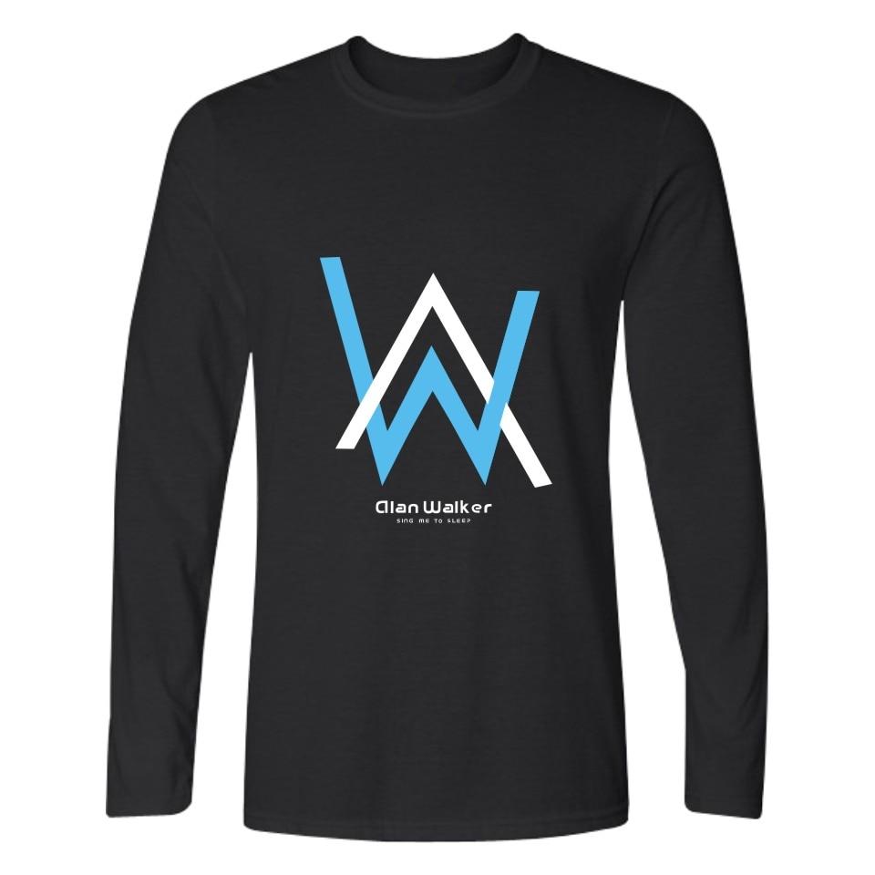 DJ Walkzz AW Alan Walker DJ Long Sleeve Shirt Spring Better Cotton Long Sleeve T Shirt Men Slim Fit Alan Walker Faded
