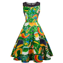 Irish lucky day elegant dress 2019 womens sexy dresses clothes plus size girls clothing casual green color print o-neck