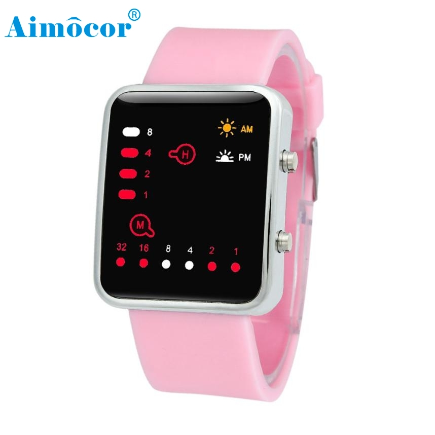 Hot 2017 Newly Designed High Quality Women Mens Digital Red LED Sports Watch Binary Wristwatch Silicone Levert Dropship 605