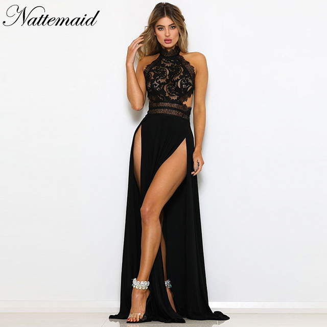 NATTEMAID Black Red Long Maxi Party Dress Sexy Split Hollow Out Lace Dress  Summer 2018 Backless 6b80104c0d68