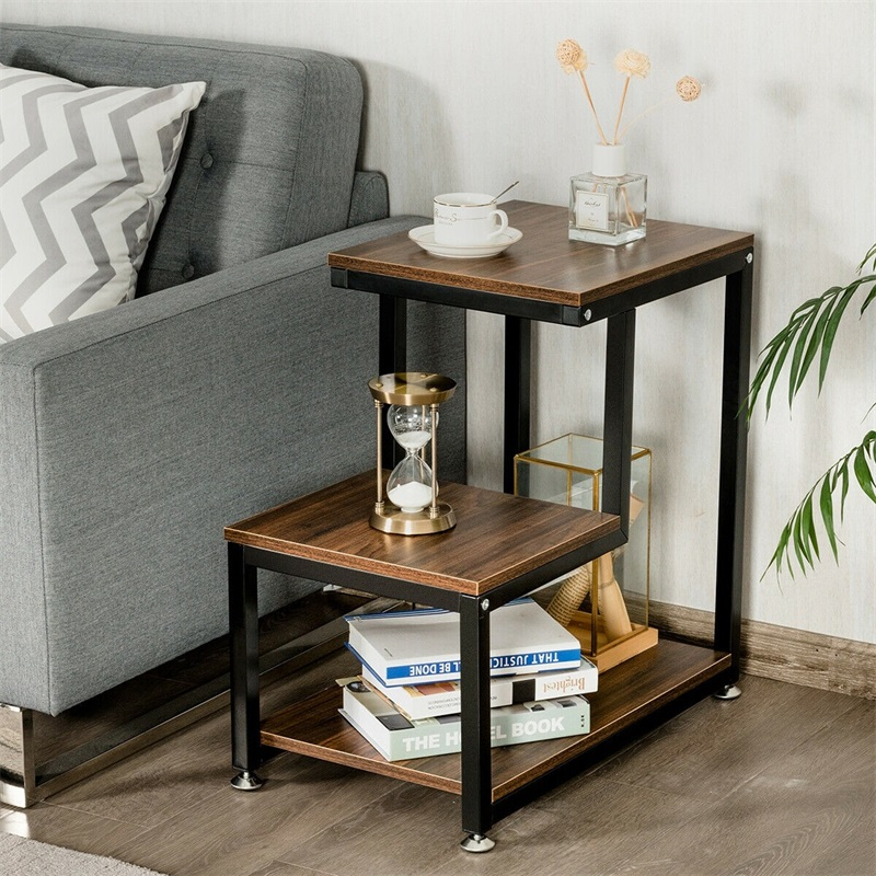 US $64.6 47% OFF|3 Tier Living Room Side Table with Storage Shelf Living  Room Chic Stair Step Design Versatile Accent Console Tables HW61403-in ...